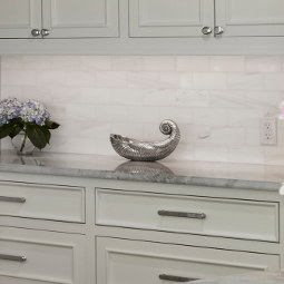 "3"" x 6"" Pearl Dolomite marble satin finish tile backsplash"