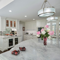 Newport White quartzite kitchen countertop