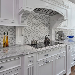 Honed Thassos Marble Water Jet and Polished Carrara Marble Hand Clipped custom mosaic backsplash